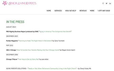 Screenshot of Press Page seniorlivingexperts.com - Senior Living Experts®In the Press - Senior Living Experts® - captured Dec. 9, 2016
