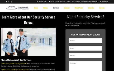Screenshot of Services Page selectpatrol.com - Security Service | Patrol | Security Guards | Parking Management - captured Oct. 2, 2018