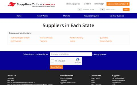 Screenshot of Locations Page suppliersonline.com.au captured Jan. 29, 2017