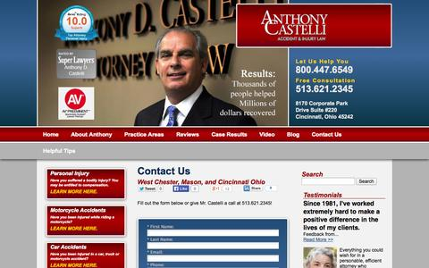 Screenshot of Contact Page castellilaw.com - Cincinnati Ohio Accident Attorney | Anthony Castelli Accident & Injury Law | Contact Us - captured Oct. 4, 2014