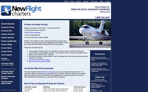 Screenshot of Pricing Page newflightcharters.com - Private Jet Charter Quotes With Prices, Charter Flight Quote Cost Pricing for Air Charter Flights with New Flight Charters - captured Oct. 1, 2014