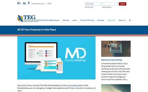 Screenshot of tegfcu.com - All Of Your Finances In One Place – TEG Federal Credit Union - captured Dec. 2, 2017