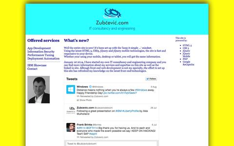 Screenshot of Home Page zubcevic.com - Zubcevic.com - IT consultancy and engineering services - captured Oct. 6, 2014