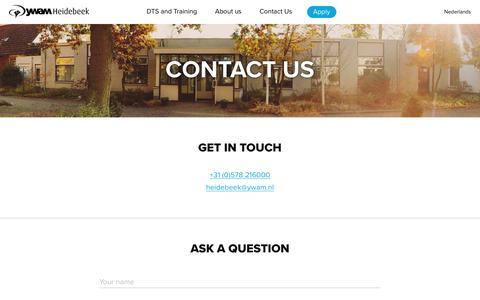Screenshot of Contact Page ywamheidebeek.org - Contact Us – YWAM Heidebeek - captured Jan. 18, 2018