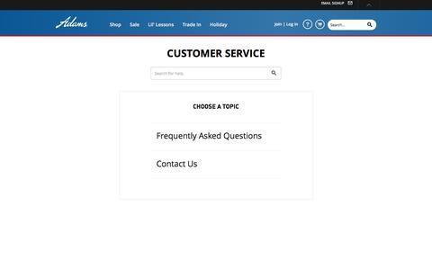 Screenshot of Support Page adamsgolf.com - Customer Service - captured Dec. 23, 2015