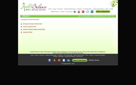 Screenshot of Products Page yourhealthandlongevity.com - Chinese Herbal Products | Healing, Alternative Medicine | Treatment in Boston Clinic - captured Nov. 11, 2018