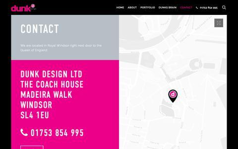 Screenshot of Contact Page dunkdesign.co.uk - Contact us – Dunk Design Ltd | Graphic Design Windsor - captured Oct. 9, 2018