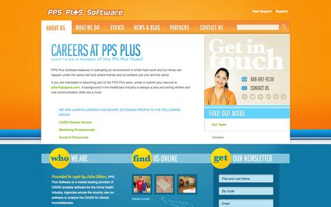 Screenshot of Jobs Page ppsplus.com - Careers -  PPS Plus Software | OASIS Analysis Software By Nurses For Nurses - captured Sept. 22, 2014