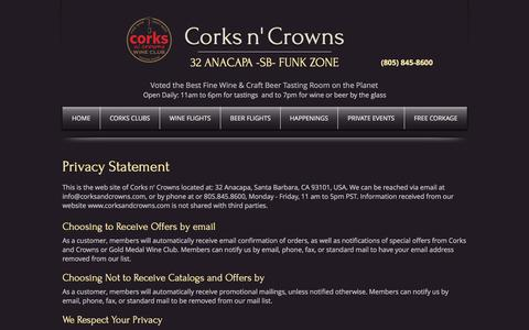 Screenshot of Privacy Page corksandcrowns.com - Privacy Statement - captured July 22, 2018