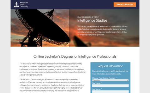 Screenshot of Landing Page apus.edu - Online Bachelor of Arts in Intelligence Studies | American Public University - captured Nov. 8, 2017