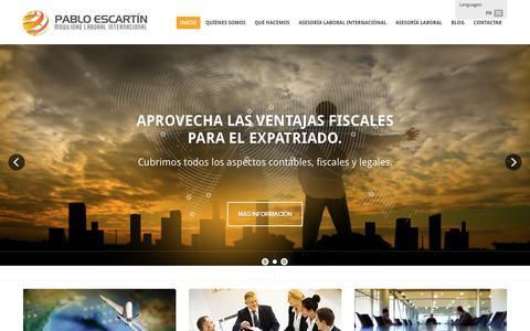 Screenshot of Home Page pabloescartin.es - Pablo Escartín / Asesoría laboral Internacional - captured Jan. 24, 2016
