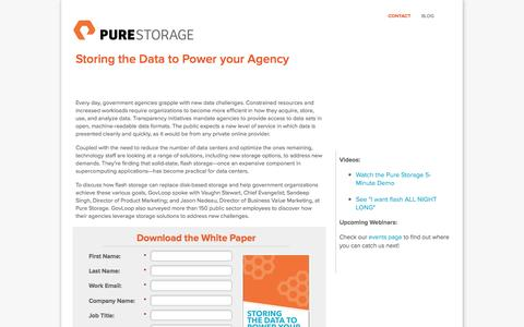 Screenshot of Landing Page purestorage.com - Storing the Data to Power your Agency - captured March 15, 2016