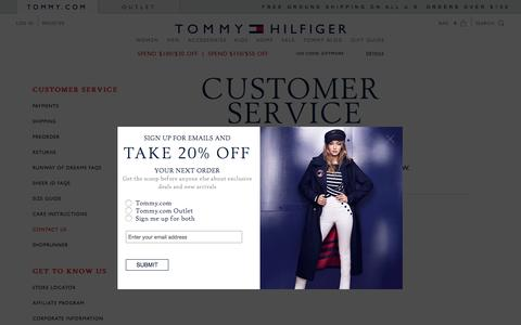 Screenshot of Support Page tommy.com - CONTACT | Tommy Hilfiger USA - captured Dec. 2, 2016