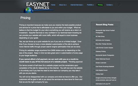 Screenshot of Pricing Page easynetservices.com - pricing of website design in Mooresville, NC by EasyNet Services | website design in Mooresville, NC - - EasyNet Services - captured Oct. 22, 2014