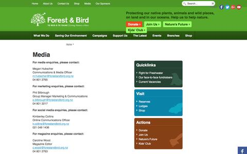 Screenshot of Press Page forestandbird.org.nz - Media | Forest and Bird - captured April 2, 2017