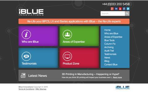 Screenshot of Home Page ibluei.com - iBluei | Infor 10, LX BPCS Enterprise Resource Planning Re-lifeing Experts - captured Oct. 1, 2014