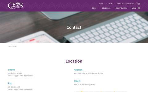Screenshot of Contact Page gemsgc.org - Contact   GEMS - captured Jan. 23, 2016