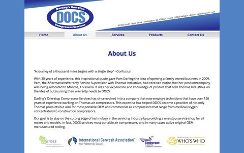 Screenshot of About Page docs-llc.com - DOCS - Medical, Environmental, Laboratory, Beverage and Industrial Compressor Repair - captured Sept. 30, 2014