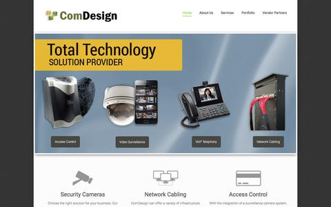 Screenshot of Home Page comdesigninc.com - Security Camera System Installation | Network Structured Cabling Installers | Access Control Systems | - captured Jan. 30, 2016