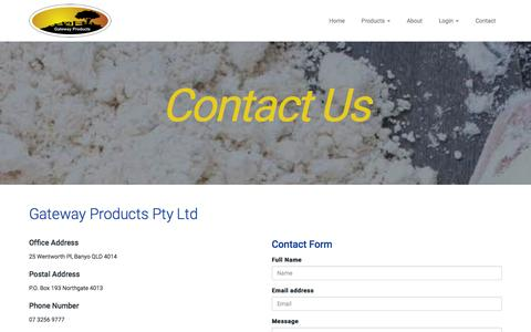 Screenshot of Contact Page gatewayproducts.com.au - Contact Gateway Products Queensland - captured Jan. 26, 2016