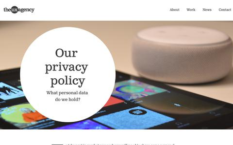 Screenshot of Privacy Page theuxagency.co.uk - The UX Agency - Privacy Policy - captured Jan. 13, 2020