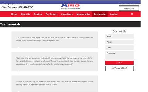 Screenshot of Testimonials Page amsltd.us - Collections Company   Testimonials   American Municipal Services - captured Nov. 20, 2016