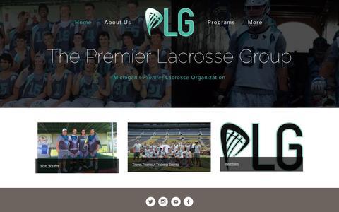 Screenshot of Home Page premierlacrossegroup.com - Premier Lacrosse Group - captured Oct. 6, 2014