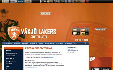 Screenshot of Press Page vaxjolakers.se - Pressackreditering - Växjö Lakers - captured Nov. 5, 2014