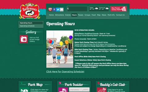 Screenshot of Hours Page mydelgrossopark.com - Operating Hours - DelGrosso's Park PA - captured Oct. 31, 2018