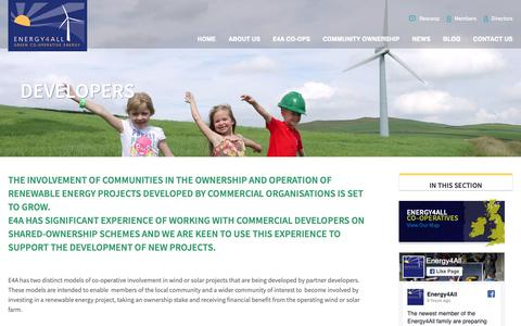 Screenshot of Developers Page energy4all.co.uk - Developers - Ethical Investment, Community Renewable Energy Shares - captured Sept. 28, 2018