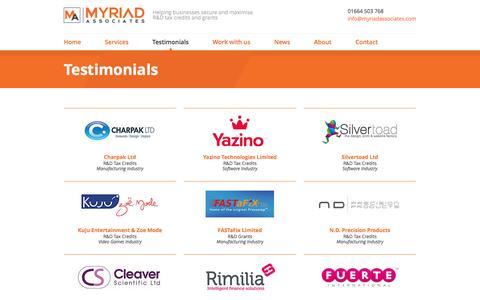 Screenshot of Testimonials Page myriadassociates.com - Client Testimonials   R&D Tax Credits   Myriad Associates - captured Aug. 14, 2016