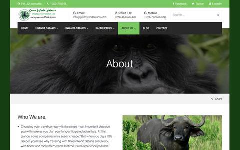 Screenshot of About Page greenworldsafaris.com - About | Uganda Safaris - captured May 24, 2017