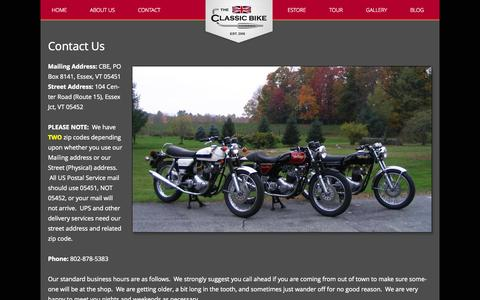 Screenshot of Contact Page classicbikeexperience.com - Contact Us | Classic Bike Experience - captured Oct. 26, 2014