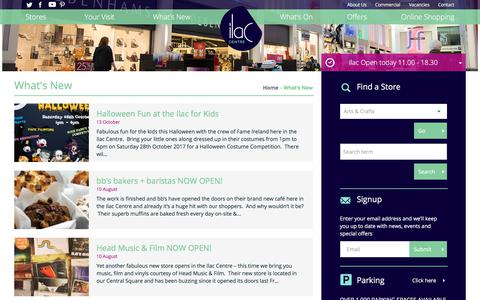 Screenshot of Press Page ilac.ie - What's New - Ilac Shopping Centre - captured Oct. 14, 2017