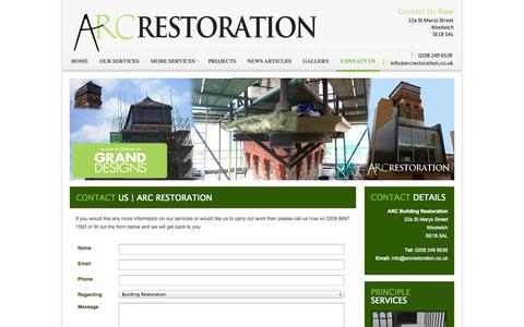 Screenshot of Contact Page arcrestoration.co.uk - Contact Us | Arc Restoration - captured Oct. 4, 2014