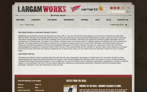 Screenshot of Terms Page largam-redwingshoes.co.uk - Terms of Use - Largam Works - captured Sept. 29, 2014