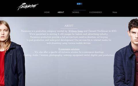 Screenshot of About Page paramour.fr - Paramour studio, photo e-commerce packshot mode luxe premium paris - captured May 14, 2017