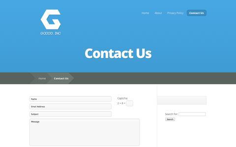 Screenshot of Contact Page gooodinc.com - Contact Us | Goood Inc - captured Sept. 30, 2014