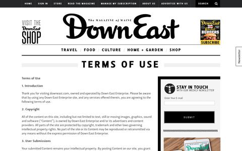 Screenshot of Terms Page downeast.com - Terms of Use - captured Oct. 12, 2017