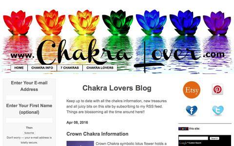 Screenshot of Blog chakra-lover.com - Chakra Lovers Blog - captured Sept. 21, 2016