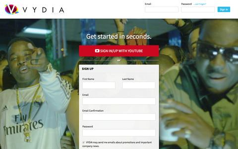 Screenshot of Login Page vydia.com - Sign Up - Vydia - captured Jan. 3, 2016