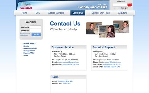 Screenshot of Contact Page localnet.com - LocalNet: Contact Us - captured Sept. 19, 2014