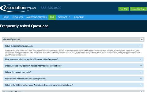Screenshot of FAQ Page associationexecs.com - Associations FAQ, General Questions about Association Executives - captured Feb. 23, 2018