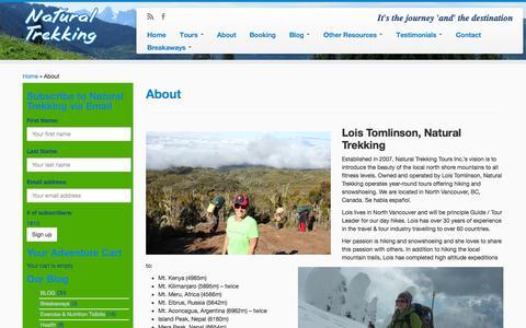 Screenshot of About Page naturaltrekking.com - About | Natural Trekking - captured Oct. 27, 2014