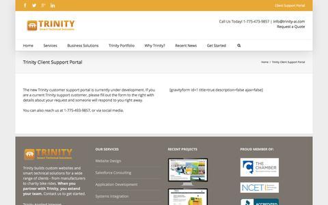 Screenshot of Support Page trinity-ai.com - Trinity Client Support Portal - Trinity - captured Dec. 17, 2016