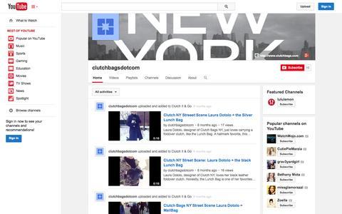 Screenshot of YouTube Page youtube.com - clutchbagsdotcom  - YouTube - captured Oct. 22, 2014