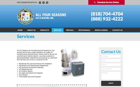 Screenshot of Services Page allfourseasons.com - Services | All Four Seasons A/C & Heating, Inc. - captured Oct. 8, 2017