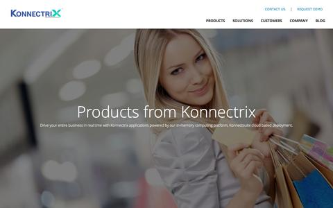 Screenshot of Products Page konnectrix.com - Konnectrix - Moving Forward - captured March 13, 2016