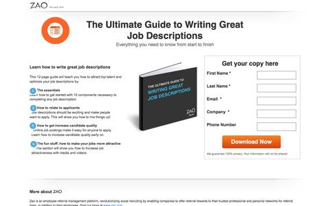 Screenshot of Landing Page zao.com - Ultimate Guide to Writing Great Job Descriptions - captured May 17, 2017