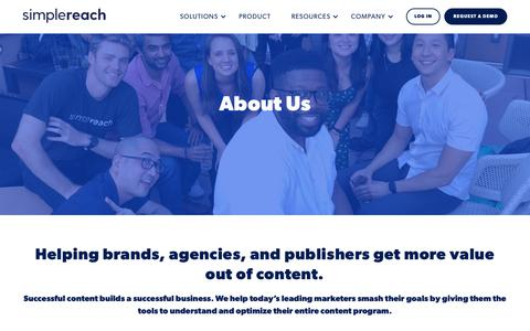 Screenshot of About Page simplereach.com - About Us - SimpleReach - captured Nov. 4, 2018